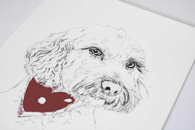A3 Personalised Cockapo Dog Illustration giclee print