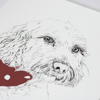 A4 Personalised cockapoo art print in red or pink and grey - great gift idea!