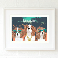 A4 Blenheim King Charles Spaniel Gangster giclee art print - modern dog decor