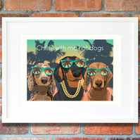 Doxie 'gangsta's paradise' giclee art print - modern Dachshund dog decor