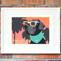 Great Dane dog lover gift Modern dog portrait A3 summertime giclee print