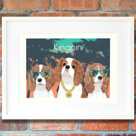 Cavalier Kingpin giclee print - funny and modern King Charles wall art
