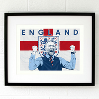 Limited Edition England wall art - Gareth Southgate football print gift for him