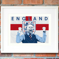 Gareth Southgate England print, football gift, Limited Edition football art