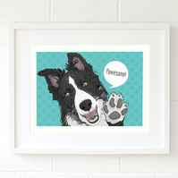Border Collie pop art dog illustration - Collie gifts - Border Collie wall art