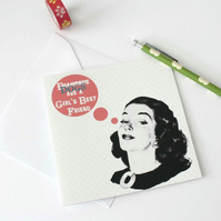 Retro dog lover card for best friend - Blank greetings card for crazy dog lady