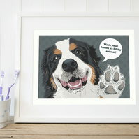 Bernese art print, Funny Bernese mountain dog bathroom print