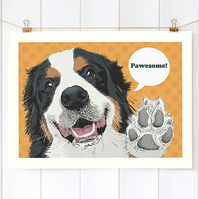 A3 Berner dog art print, Bernese Mountain dog gift for her, Berner gift for him