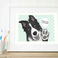 Border Collie art - bathroom art print - funny toilet art - Collie wall art