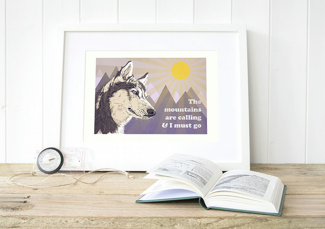 Husky gift for him, Husky gift for her, A3 Husky art prints, Husky illustration