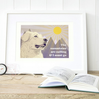 Pyrenean dog art, Great Pyrenees gifts, Mountains art print, Pyrenean dogs