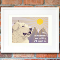 Pyrenean mountain dog art print, Great Pyrenees wall art, Pyrenean dog gift