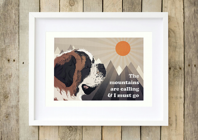 Saint Bernard wall art, Saint Bernard mountain art print, John Muir quote