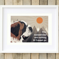 St Bernard Christmas gift for him, St Bernard wall art, St Bernard print