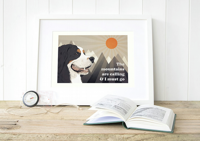 Bernese gift for him, Bernese art print, Berner gift for her