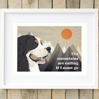 Bernese Mountain dog wall art, Bernese dog art, Bernese dog gift, Berner print