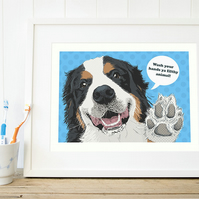 A4 Bernese bathroom print, Bernese mountain dog wall art gift for her