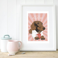 Sausage dog wall art, Wiener dog print, Doxie gift, Dachshund dog mum gift