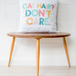 Cat lover gift, Cat cushion, Modern geometric cat pillow, 'cat hair don't care'