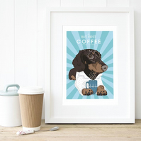Dachshund art print, Gift for coffee lover, personalised dachshund dog gift