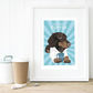 A3 Dachshund art print, Gift for coffee lover, personalised dachshund dog gift