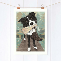 Collie wall art, Gift for hiker, Gift for best friend, Dog lover gift idea