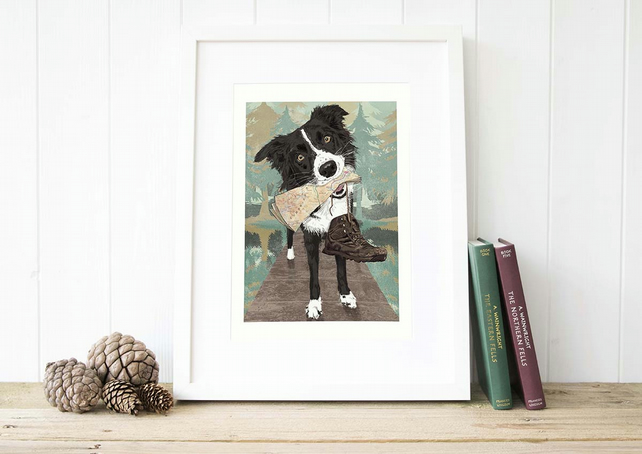Border Collie wall art gift for hiker, Sheep dog lover gift for men