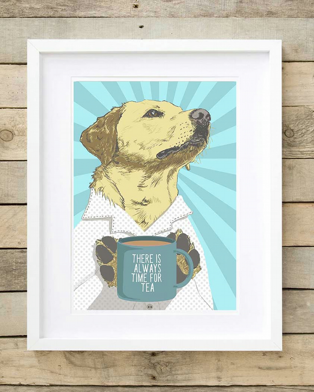 Labrador gift for him, yellow Lab wall art, Lab gift for her, tea lover gift