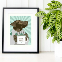 Chocolate Labrador wall art, Chocolate Lab pet art gift idea