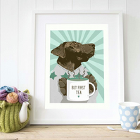Cosy chocolate Labrador wall art, Gift for chocolate Lab owners
