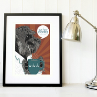 Teal and orange Schnauzer gift for coffee lovers, Schnauzer gift for him