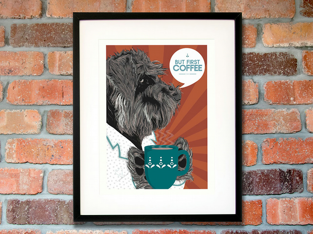 Schnauzer gift for coffee lovers - Schnauzer gift for him - Schnauzer wall art