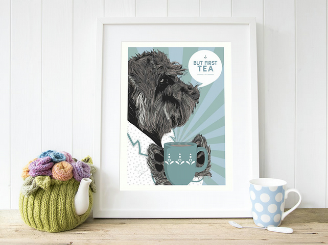 Duck egg blue Schnauzer gift for her, Schnauzer wall art Valentine's day gift