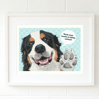 Bernese bathroom print - Bernese pop art - Bernese mountain dog art gift for her