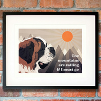 St Bernard wall art - St Bernard print - St Bernard birthday gift for him