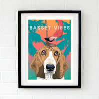 Basset Hound art - Basset dog print - British pop art - Basset print