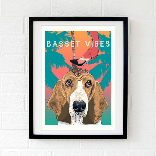 Basset Hound print - Hound dog gift - Basset gift for Mum - Dog art gift