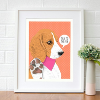 Beagle gifts - Dog pop art gift for her - Beagle wall art gifts for her