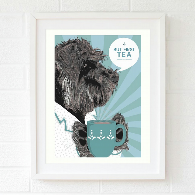 Duck egg blue Schnauzer gift for her, Schnauzer wall art, tea wall art
