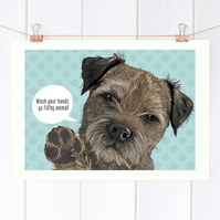 Personalised Border Terrier Bathroom art print