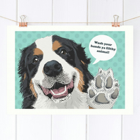 Bernese toilet wall art, Funny Bernese mountain dog bathroom print