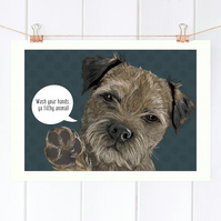 Personalised Border Terrier pop art print - Border Terrier wall art gift