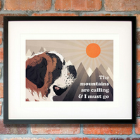 St Bernard gift for him - St Bernard print - St Bernard wall art - Dog art gift