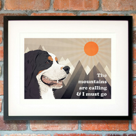 Bernese Mountain dog print, Bernese dog art, Bernese dog gift, Berner print