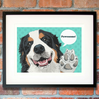 Bernese pop art, Bernese birthday gift, Bernese Mountain dog gift for her