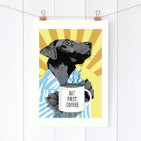 Coffee art - Personalised black Labrador print - Black Lab print