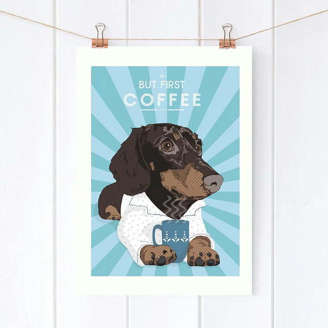 Dachshund but first coffee wall art print, personalised doxie art gift, tea gift