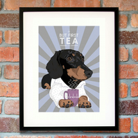Dachshund art print - Gift for tea lover - Dachshund kitchen print - Tea print
