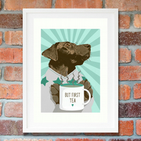 Chocolate Labrador wall art, Chocolate Lab pet art gift idea, Tea gift idea