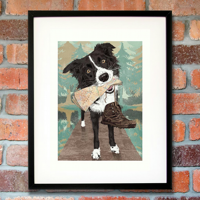 Border Collie art print - Lake District gift for boyfriend - gift for husband
